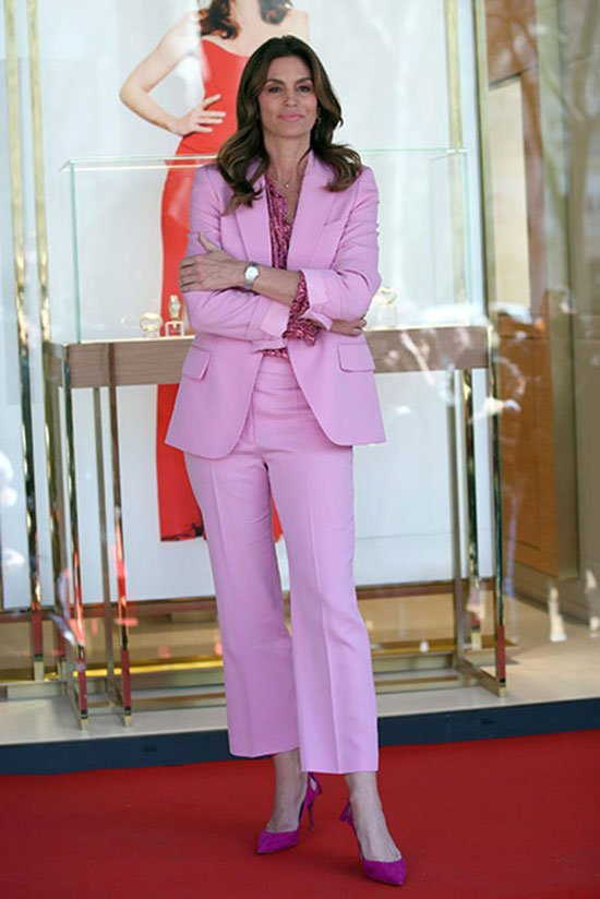 Color Power Suits Cindy Crawford Pink pant suit