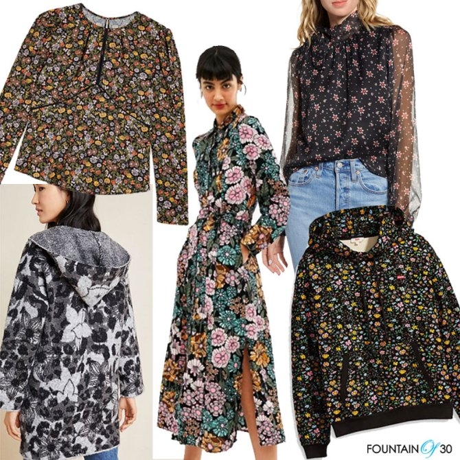 dark florals for fall blouses, dress, sweater, jacket, hoodie fountainof30