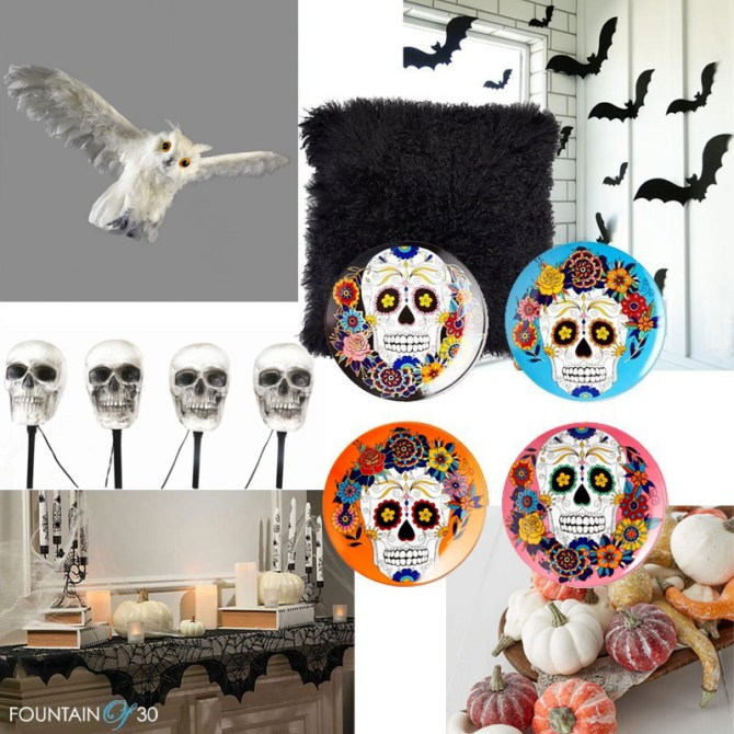 Halloween Home Decor white owl black bats skull head lights fountainof30