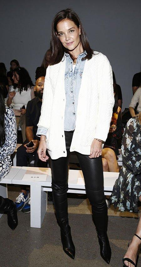 Katie Holmes Eli Tahari NYFW Spring 2020 White cardigan black leather pants