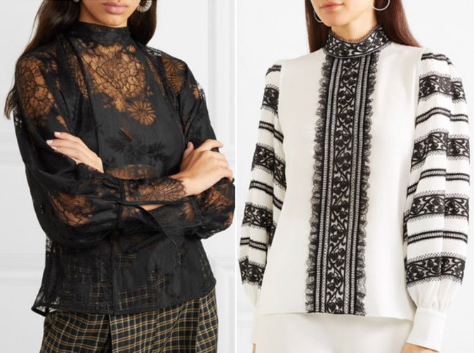Beaufille black lace blouse Andrew Gn Lace-trimmed
