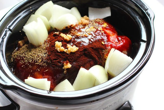 Crock-Pot Pulled Pork Pork and spices in the crock pot fountainof30