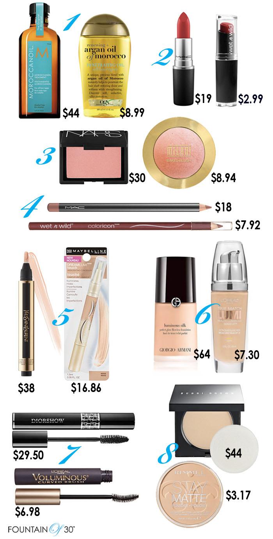 beauty dupes makeup fountainof30