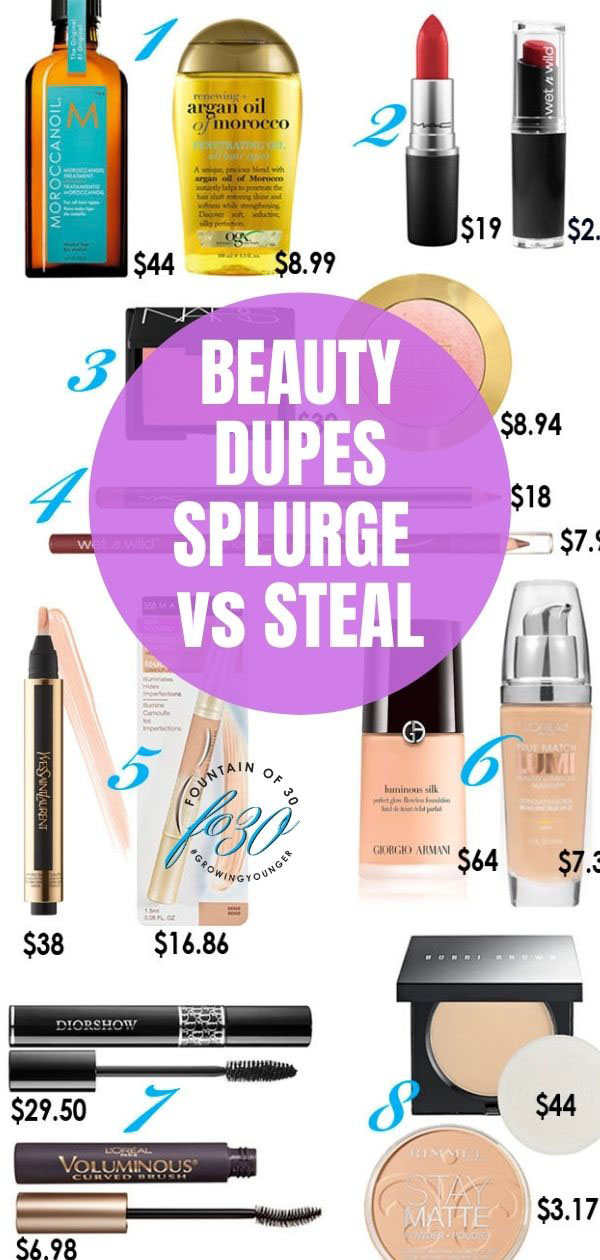 beauty dupes splurge vs steal fountainof30