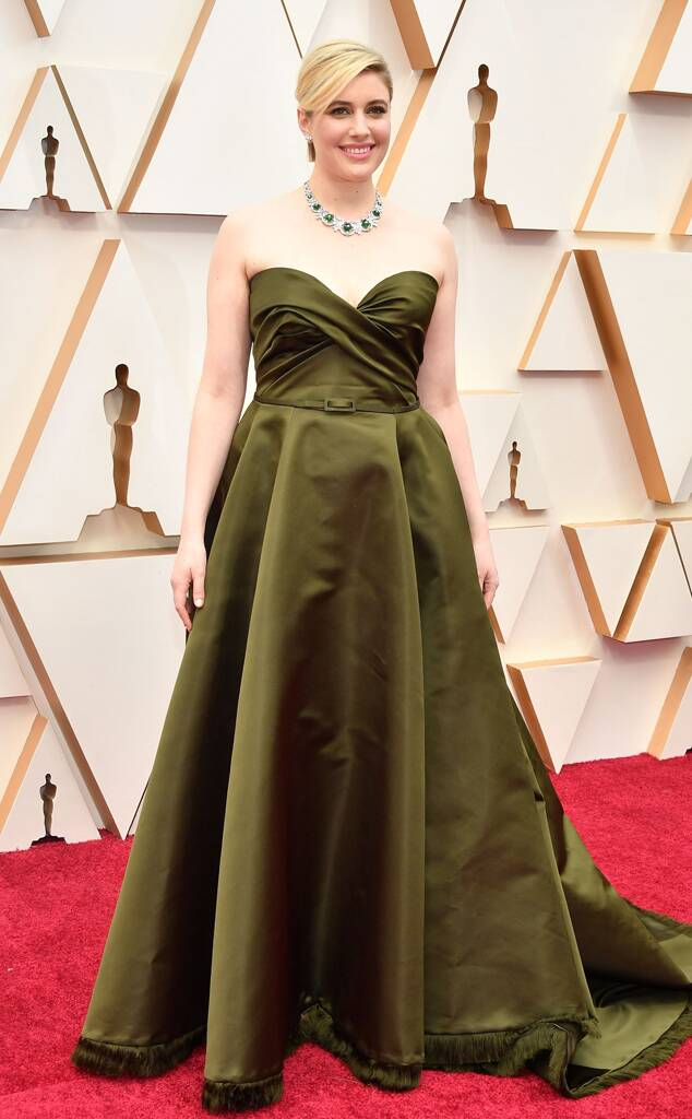 Greta Gerwig in oilve green Dior gown