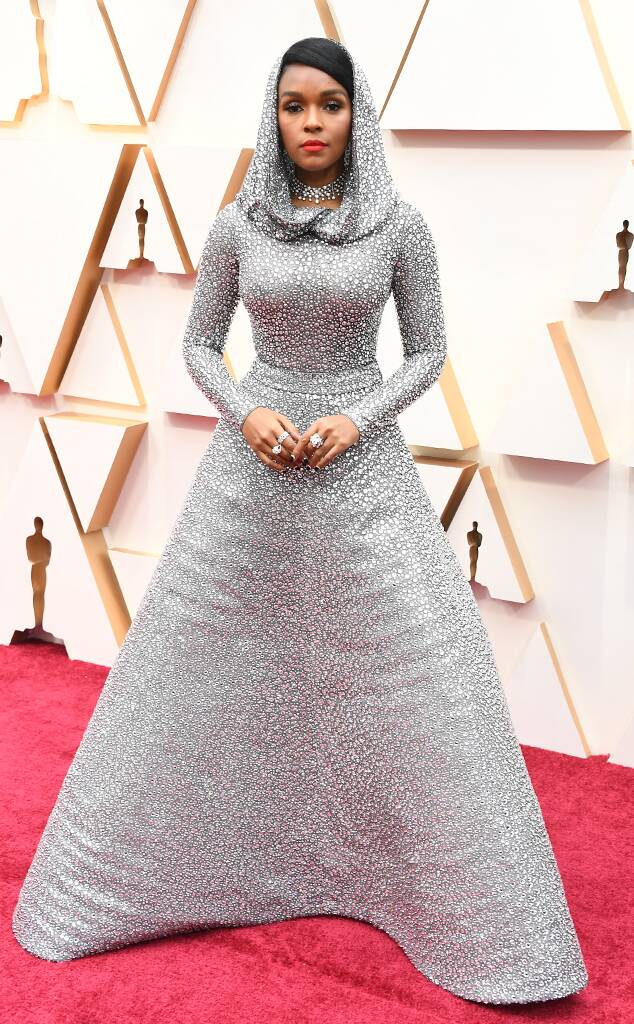 Janelle Monáe in silvver hooded Ralph Lauren