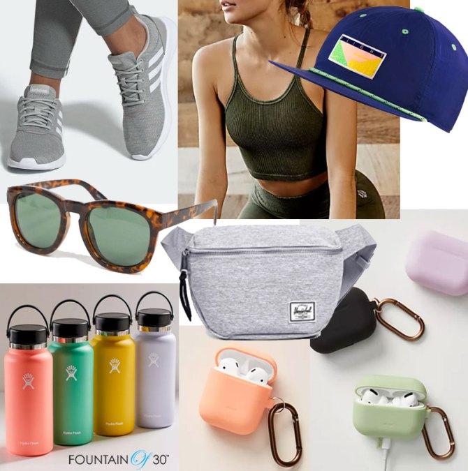 walking accessories sneakers sunglasses water bottle fountainof30