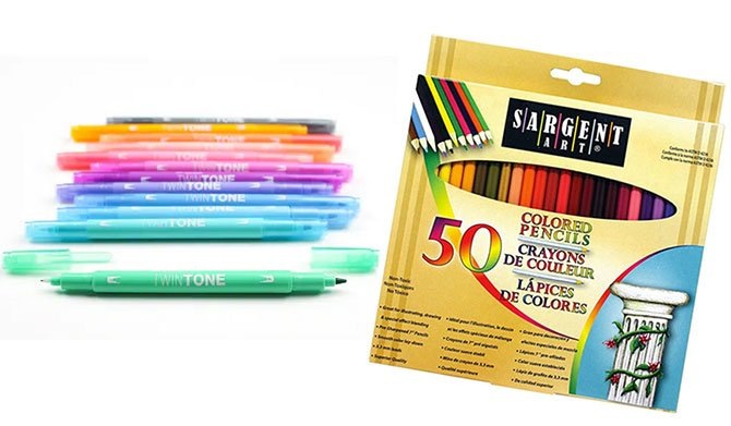 Dual-Tip Marker Set and colored pencils fountainof30