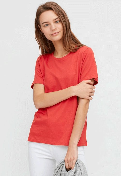 look your best for zoom bright colored T-shirt coral red