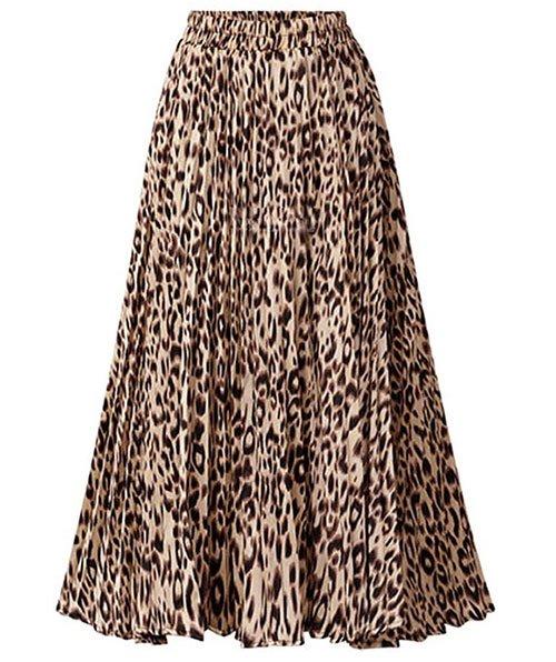 High Leopard Print Pleated skirt