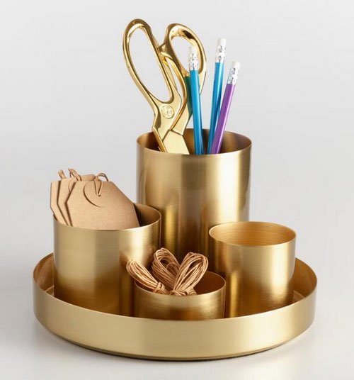 home office desk setup Gold desk Organize fountainof30