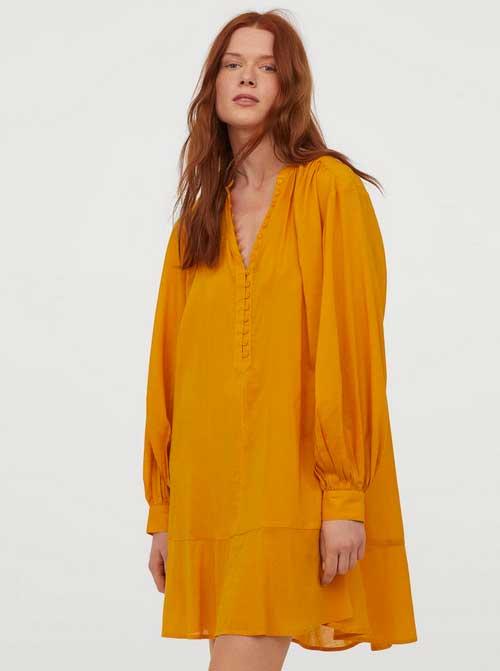 golden yellow Cotton-blend Tunic fountainof30