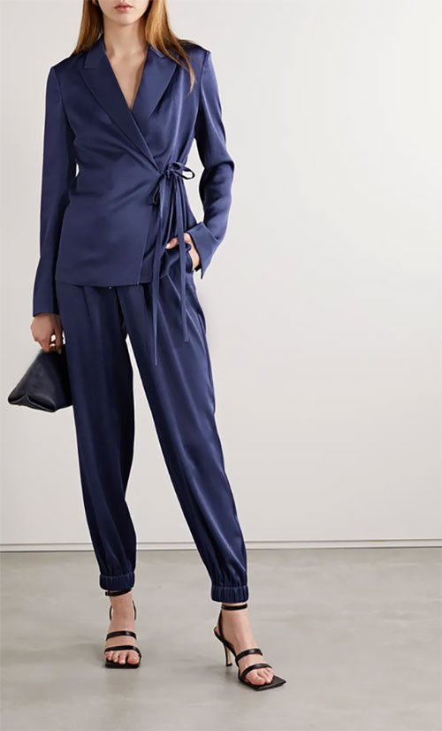 silk joggers with suit jacket heels fountainof30