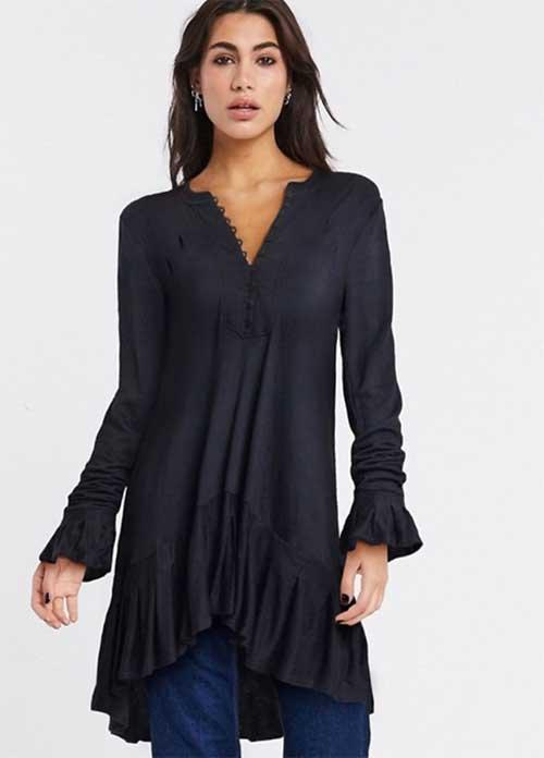 long sleeve tunic top in black fountainof30