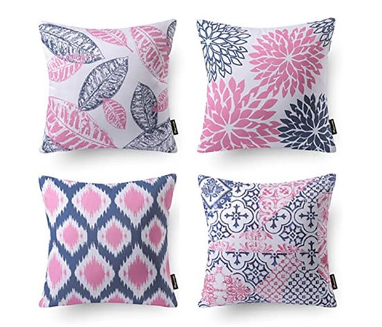 pink and blue Decorative Throw Pillow Covers fountainof30