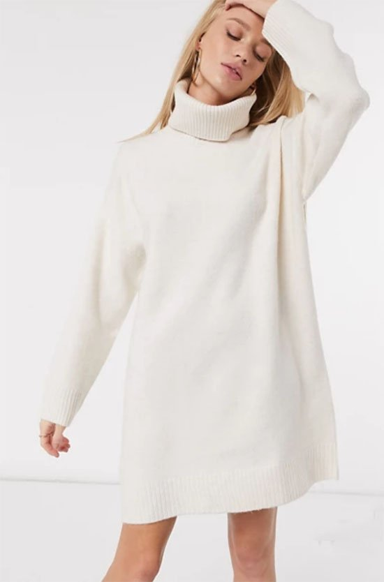 Roll Neck Knitted Sweater Dress in Cream fountainof30