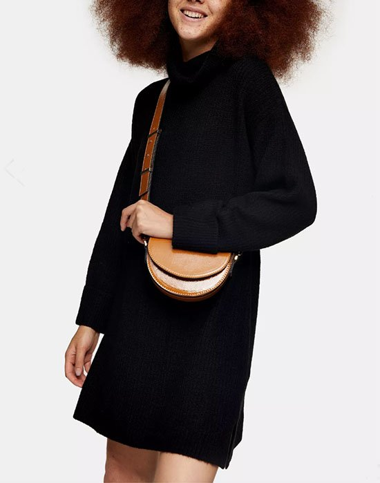 Topshop Black Funnel Neck Knitted Dress fountainof30