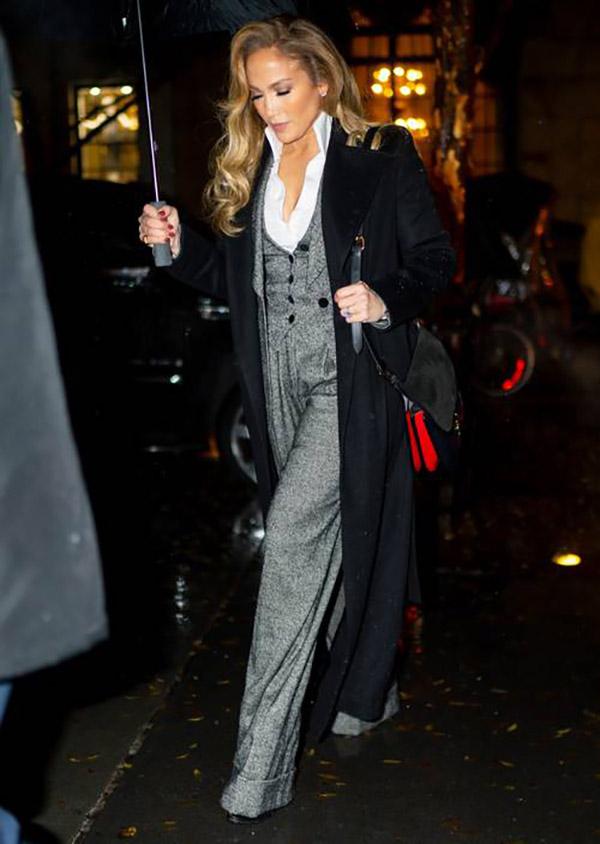 Jennifer Lopezwide leg pants suit fountainof30