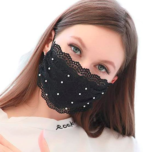 holiday face mask lace and pearl fountainof30