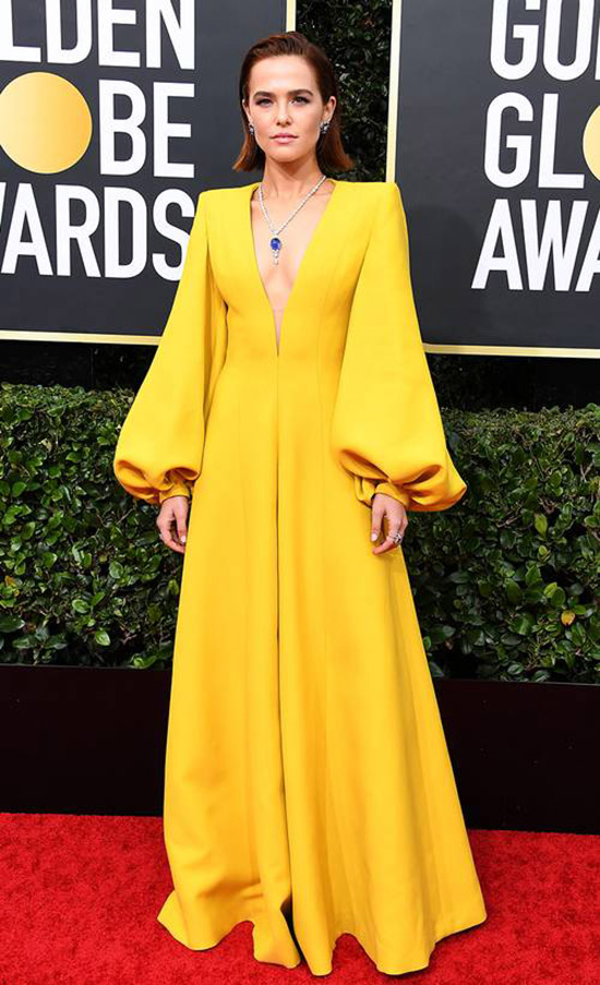 Zoey Deutch yellow jumpsuit