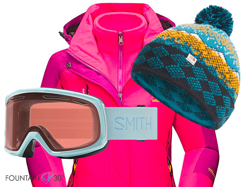 ski outfit womens jacket goggles hat fountainof30