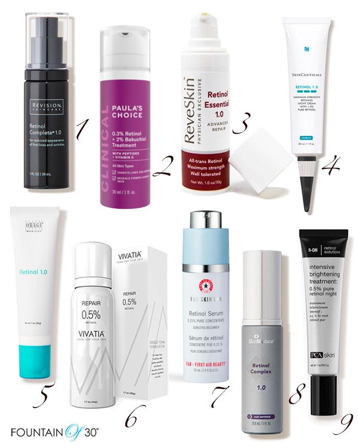 retinol skincare products fountainof30