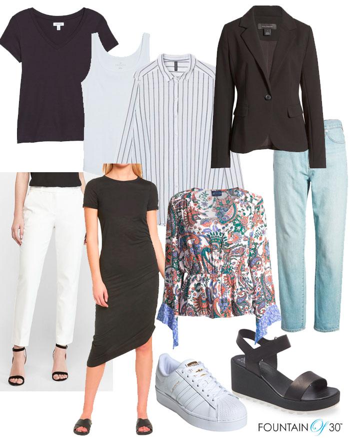 summer capsule wardrobe tshirts pants shoes fountainof30