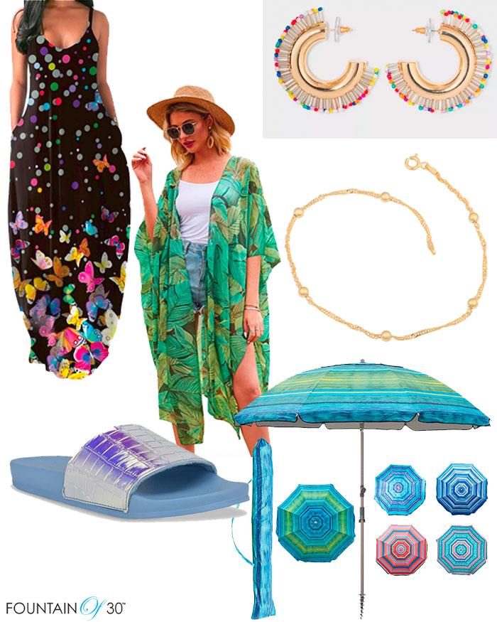 summer fashion beach vacation dresses jewelry slide sandals fiuntainof30