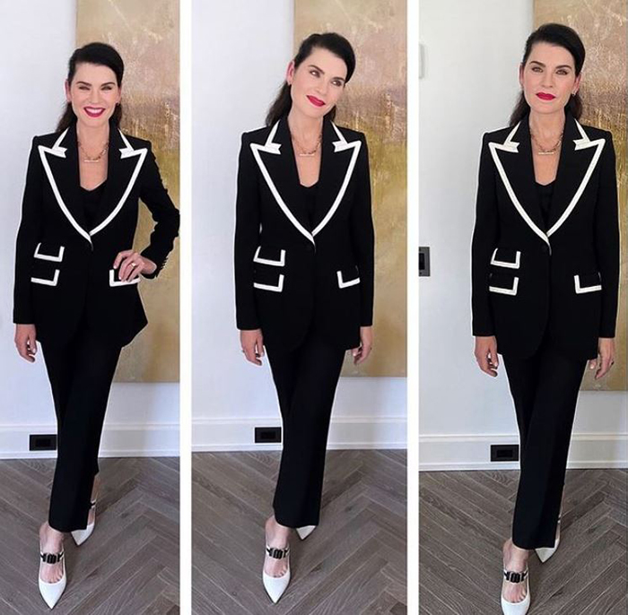 back in black juliana marguiles black suit whit trim fountainof30