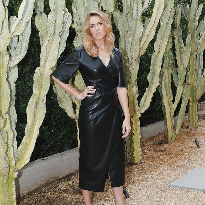 mandy moore black faux leather dress fountainof30
