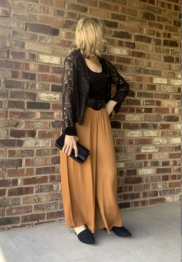 cognac palazzo pants black lace blouse evening look fountain of30