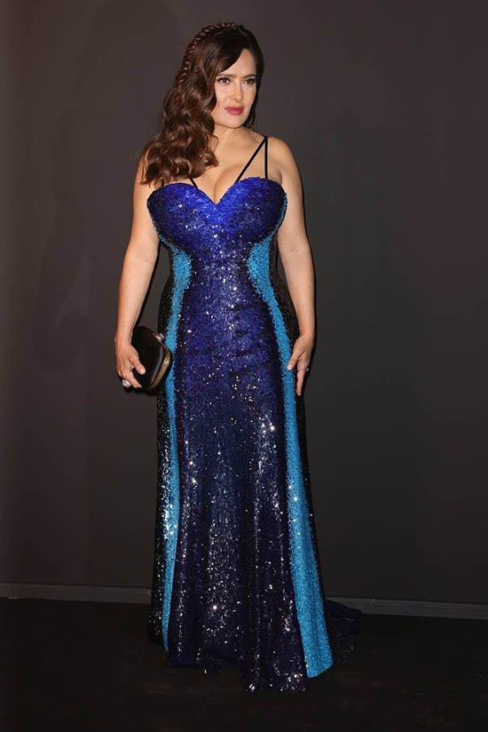 cannes film festival fashion Salma Hayek in blue Gucci fountainof30