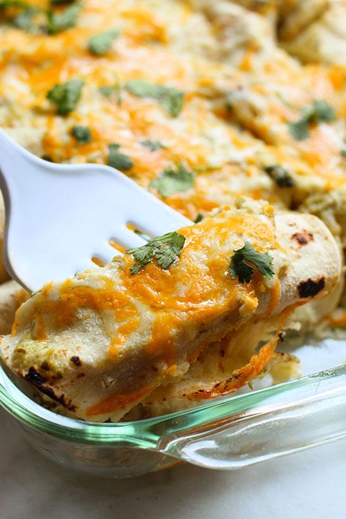 serving up salsa verde chicken enchiladas fountainof30