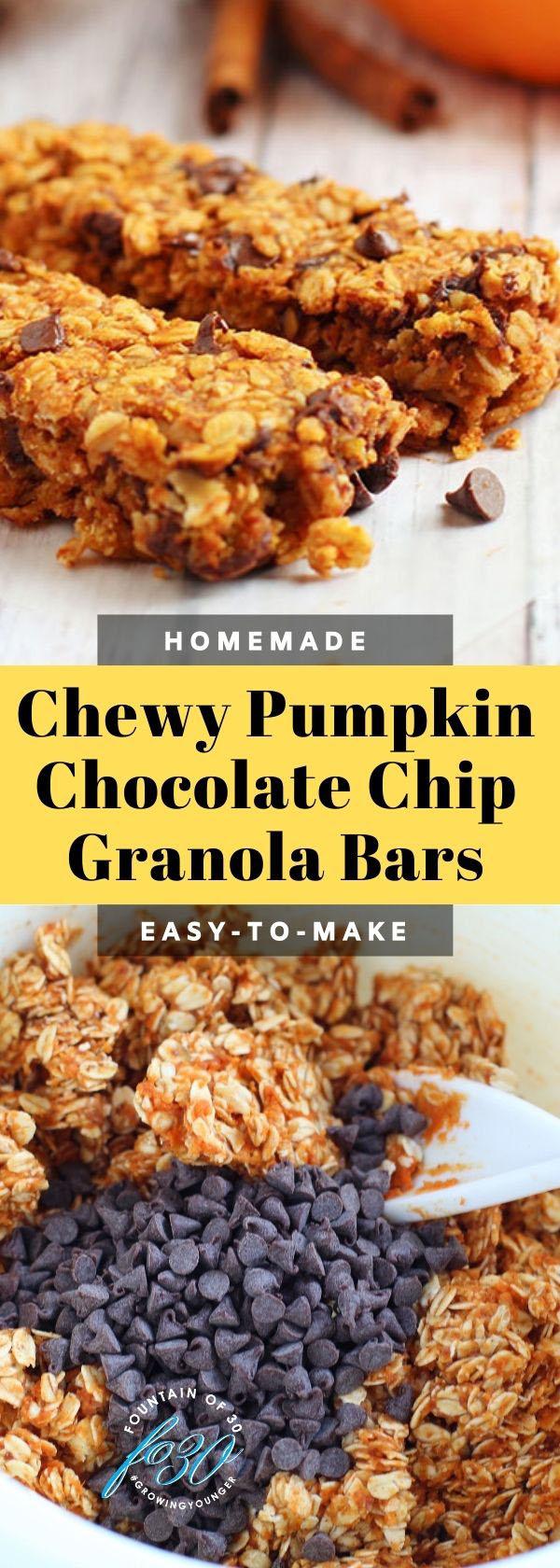 chewy pumpkin chocolate chip granola bars fountainof30