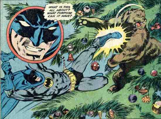 Batman Kicking A Bear In A Christmas Tree