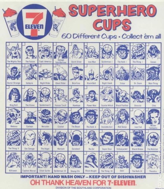 1975 Marvel Slurpee Check List