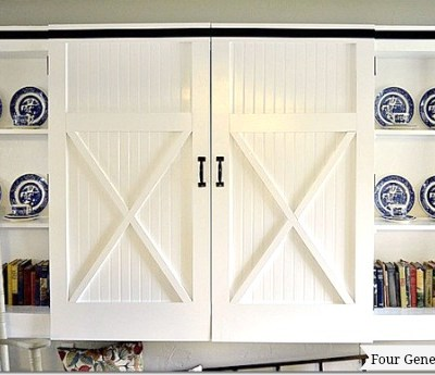 DIY barn closet doors front view