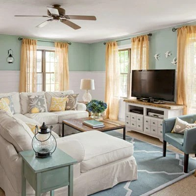 cottage family room before and after
