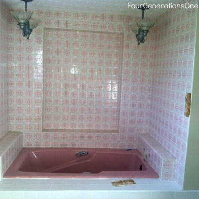 The beginning of our DIY guest bathroom renovation {my bathroom as a kid!}