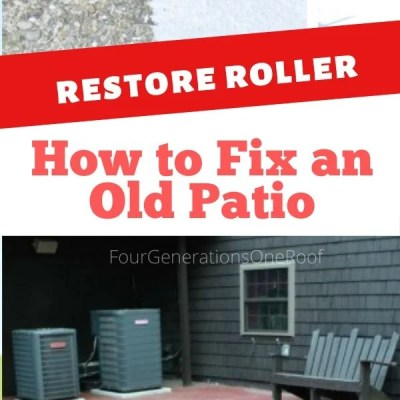 How to repair a cracked and old cement patio {before & after}