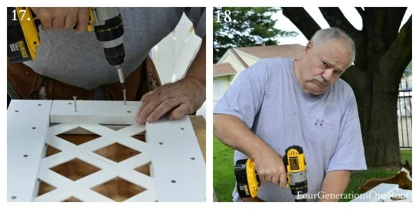 How to build a lattice privacy screen {diy tutorial} with my dad, screwing deckfast screws to white pine trim