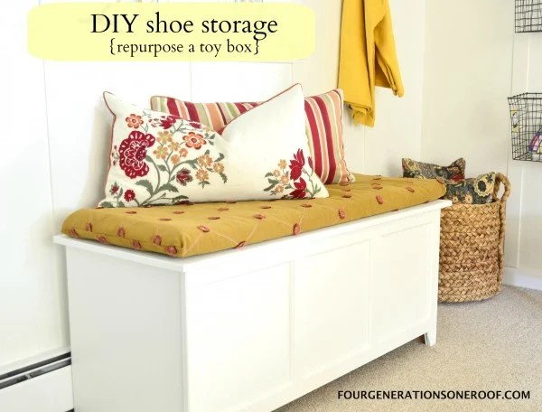 DIY shoe storage {how to repurpose a toy box}