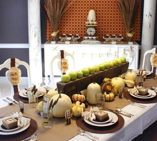 Thanksgiving tablescape green apples and pumpkins