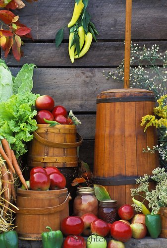 Harvest butter churn baskets and apples