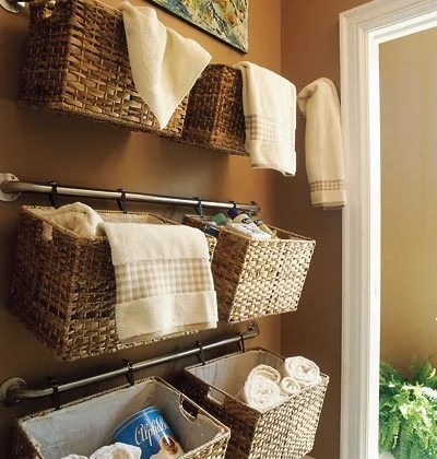 hanging bathroom baskets on towel rod