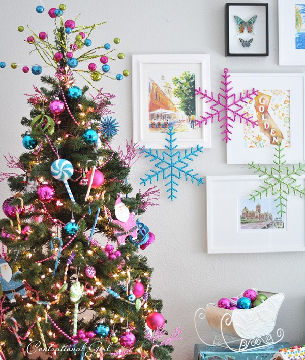 pastel colored candy christmas tree