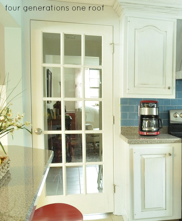 white kitchen makeover with french door