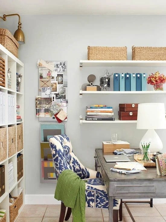aqua accents bookshelves woven baskets