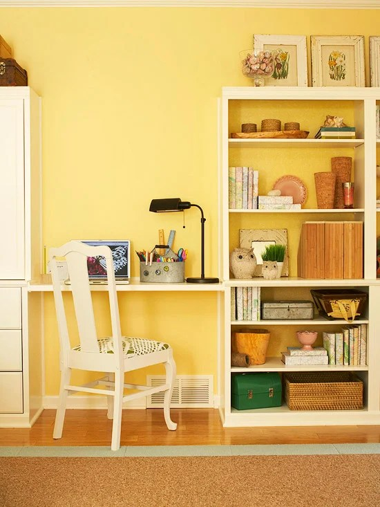 simple styled bookcase with kids desk