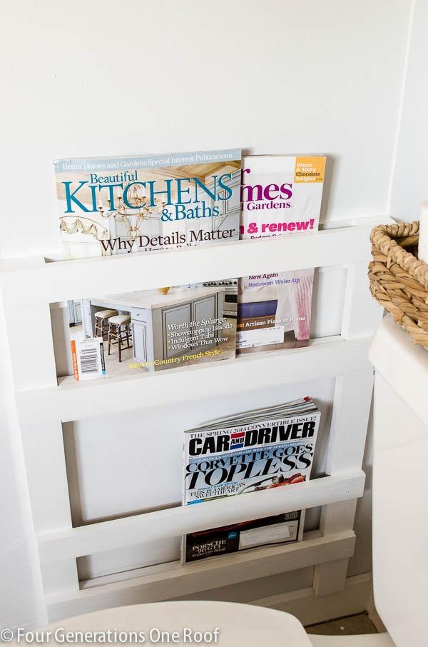 DIY bathroom magazine rack